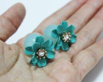 Mint green dahlia earrings, mint green flower earrings, mint green flower ball earrings, forest green flower earrings, flower earrings