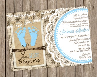 rustic baby boy shower invitation over brown kraft paper burlap and lace with baby blue