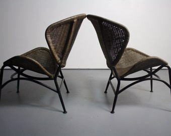 PROFOUND Clam Shell Wicker Chairs in the Manner of Salterini