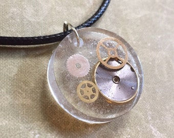 Steampunk Gears In Resin Circle Necklace Pendant (or Keychain) Unusual Upcycle Watch Parts