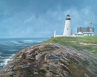 Original Oil Painting 30x40 Seascape Pemaquid Lighthouse The Coast of Maine By  Artist Greg Butterworth
