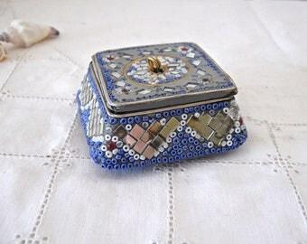 Jeweled Dresser Box, Vanity Box, Gift Box, Ring Box / Vintage Keepsake Box