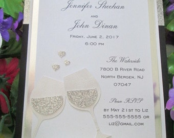 Sparkly wine glass formal rehearsal dinner invitation with glitter accent and custom die cut glasses