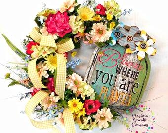 Spring Wreath, Spring Door Wreath, Spring Wreath for Front Door, Spring Door Hanger, Grapevine Wreath, Spring Grapevine Wreath Floral Wreath
