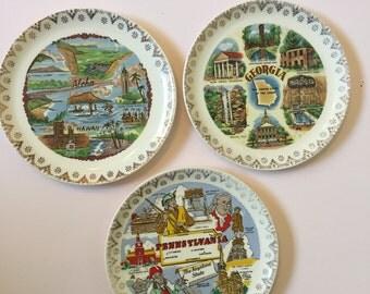 Vintage Souvenir state plate- Georgia, Pennsylvania, and Hawaii