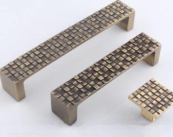 "3.75"" 5"" Mosaic Dresser Knob Drawer Pulls Handles Knobs Cabinet Door Knob Retro Kitchen Furniture Handle Pull Square Antique Bronze 96 128"