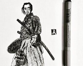 KillerBeeMoto: Sketch of Vintage Samurai Photo Original Piece 1 of 1 8 by 10 Inches