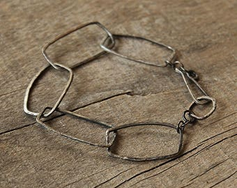 Bracelet - Raw Silver, Sterling Silver 925 Hammered Oxidized Bracelet, Simple Geometric Bracelet