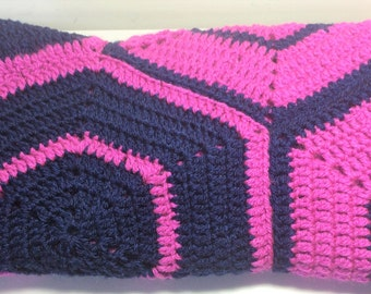 Navy and orchid baby blanket - hand made by AphraAlba in Great Britain