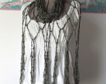 Crochet Skinny Scarf Long Wrap Shawl Airy Mermaid Deep Sea Green Olive Gold Gray Year Round Wear Evening