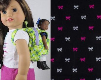 Mini Doll Backpack in Paris Glitter Bow