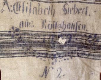 German Grain Sack from 1929, blue stripes, stenciled Elisabeth Siebert, Röllshausen, organic hemp. Ideal for rustic grainsack pillows