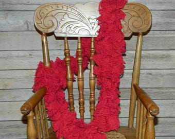 Hand Crochet Red Heart Sassy Lace Fashion Scarf in Scarlett