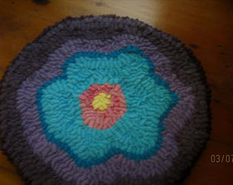SALE Primitive Round Turquoise and Purple Flower Mat, Folk Art