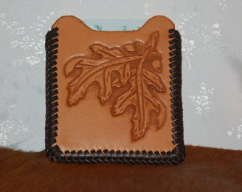 SALE: Hand Tooled Front Pocket Wallet with Money Clip #117