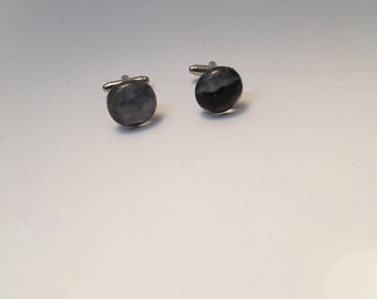 Black, white and grey fused glass cuff links