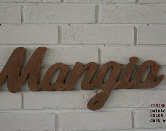 PAINTED Mangia wood sign kitchen WALL decor – home décor, Italian saying. Rustic style decoration. Kitchen & Dining.