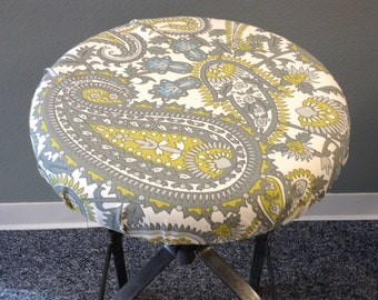 Rustic Paisley print elasticized round barstool cover, Gray, citron, blue on cream, kitchen counterstool seat cover, washable cotton