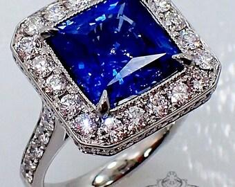 Platinum Sapphire Diamond Ring, 5.86 ct Square cut Natural Ceylon Sapphire - 3113