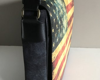 Messenger Bag American Flag bag US flag Cross Body bag Laptop bag American flag accessories made in USA Messenger Bag with Changeable Cover