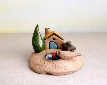 Ceramic House, Miniature house, Ceramic sculpture, Ceramics and pottery, Handmade pottery, Miniature home, Rustic house, Rustic home decor