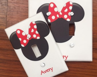 Disney Minnie Mouse Ears light switch cover PERSONALIZED red bow