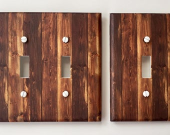 Rustic Wood Light Switch Plate Cover // brown planks image 55 // SAME DAY SHIPPING**