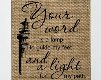 "Burlap sign ""Your Word Is A Lamp To Guide My Feet And A Light For My Path"" Love House Sign /Wedding Gift /Religious /Biblical /Birthday Gift"