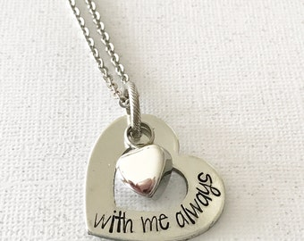 Urn necklace - Hand stamped necklace - Loss necklace - Cremation jewelry - Memorial necklace - Stainless steel heart - Cremation necklace