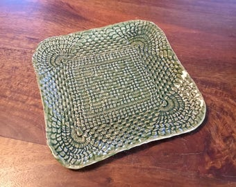 Pottery handbuilt lace impressed square dish in green