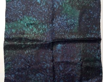 Vintage 1970s New Navy/Black/Green Organic/Raindrop Swirl Silk Pocket Handkerchief/Scarf/Stunning and Goth