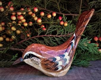 Hand Carved Windowsill Bird (Carolina Wren).