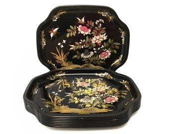 Vintage Set of 6 China Woods Metal Trays - Black and Metallic Gold Flowers - Sushi Small Serving Trays - Made in England