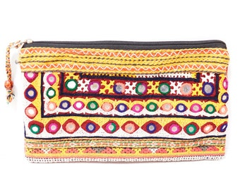 Indian mirror work pouch (0010) Indian mirror work Pouch Ethnic pouch Hippie pouch Indian mirror work
