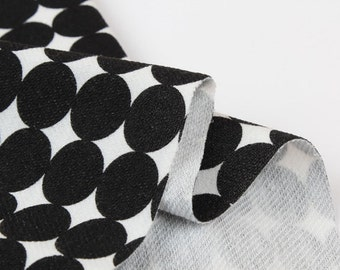 French Baby Terry Knit Fabric Black Polka Dot