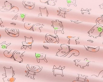 Rib Knit Fabric Cute Animals Pink By The Yard
