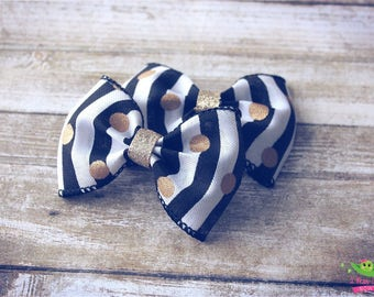 "Modern Black White Striped Gold Polka Dots Hair Bows, Trendy Bows, Baby Hair Bows, Toddler Girls Hair Bows, Hair Clips, 4"" Hair Bows, Gold"