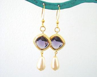 Elegant Jewel Earrings, Pearl Teardrop Earrings, Bridesmaid Earrings, Purple Earrings, Blue Earrings