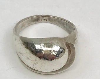 Sterling Silver Abstract Dome Ring Size 8