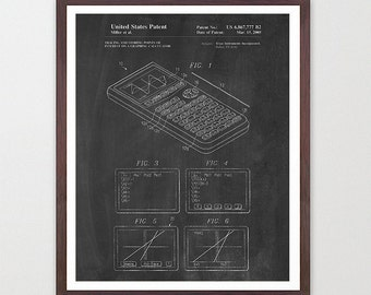 Ti83 Calculator - Math Poster - Math Patent - Mathlete - Math Geek - Math Nerd - Calculator Poster - Calculator Patent - Math Teacher - Art