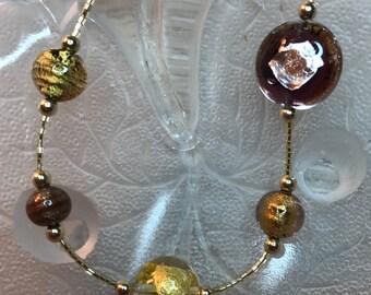 Venetian Glass Gold and Amethyst Bracelet