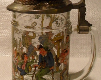vintage BMF glass beer stein with pewter hat lid