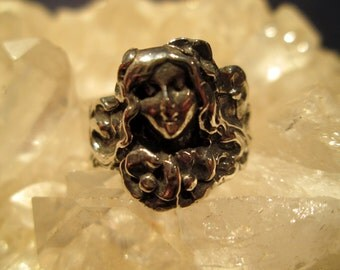 Art Nouveau Style Lady Ring ~Sterling Silver~ Hand Cast