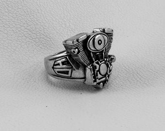 Harley Davidson Ring, Gothic Jewelry Ring, Sterling Silver 925, Steampunk Ring, Motorbike Ring, Hipster Ring, Silver Ring, Motorcycle Ring