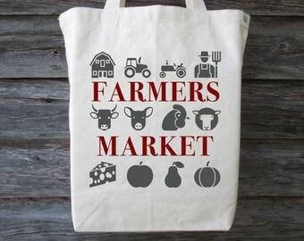 Farmers Market Tote, Cotton Canvas Tote, Farmers Market, Market Tote, Shopping Tote