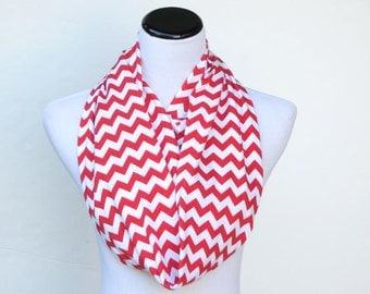 Christmas scarf red white chevron infinity scarf Holiday scarf for women and teen girls - circle scarf cotton jersey knit loop scarf