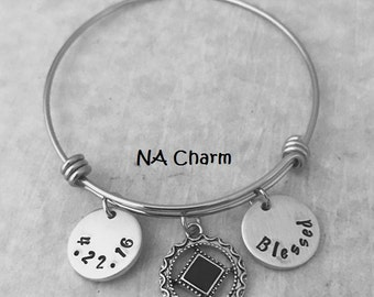 Stainless Steel Adjustable  Bangle BRACELET with NA Recovery Charm - Recovery Date, Initials, Short Motivational Word(s)