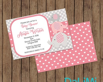 Baby Shower Invitation - Elephant Invitation - Elephant Baby Shower invitation - Printable Invitation - Personalised - Digital File!