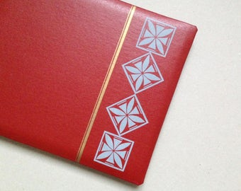 vintage photo album 8x11'' red white 21 pages