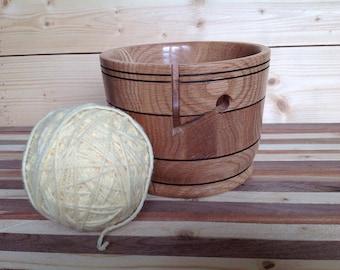 Handmade Wood Yarn Bowl Crafted from Oak- 17YBOA004